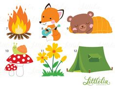 Camp clipart woodland. Camping bear in the