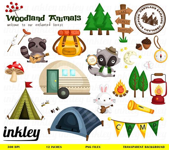 Animal camping clip art. Camp clipart woodland