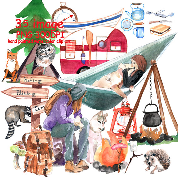 Camp clipart woodland. Watercolor camping summer hand