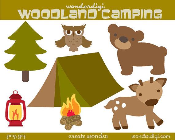 Camping clip art deer. Camp clipart woodland