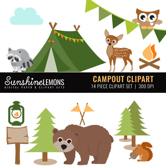Campout camping set of. Camp clipart woodland