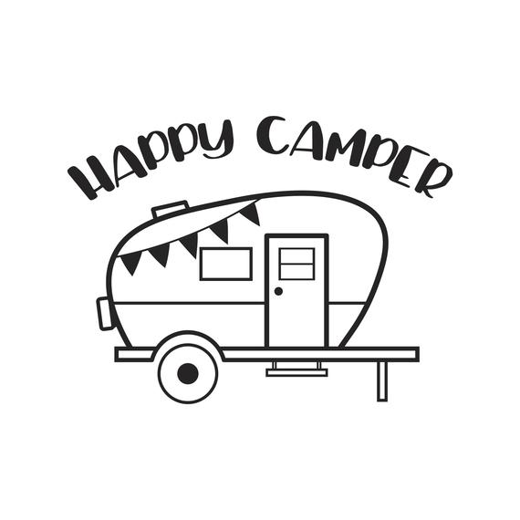 Happy black and white. Camper clipart