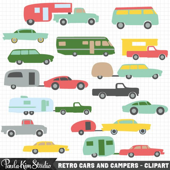 Camper clipart 5th wheel camper. Vintage and car retro