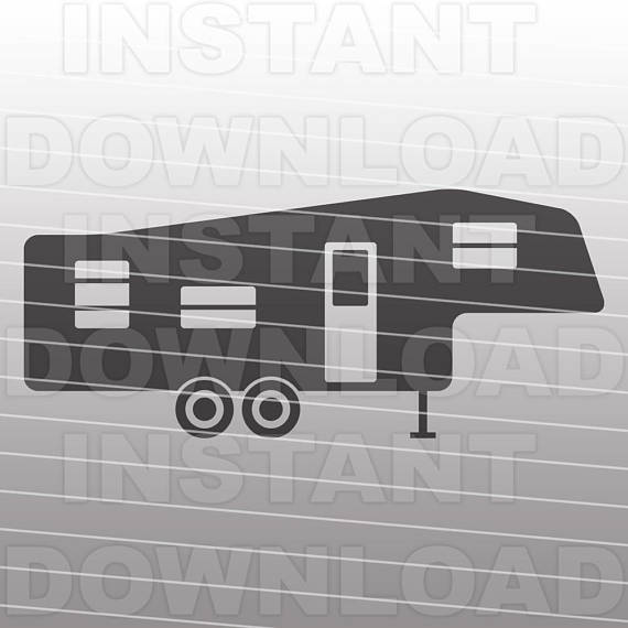 Fifth rv svg filecamping. Camper clipart 5th wheel camper