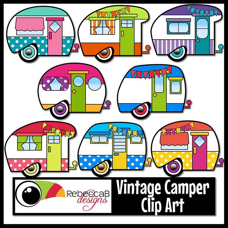 Vintage clip art retro. Camper clipart