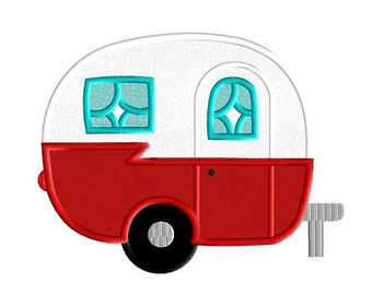 Vintage rv trailer . Camper clipart animated