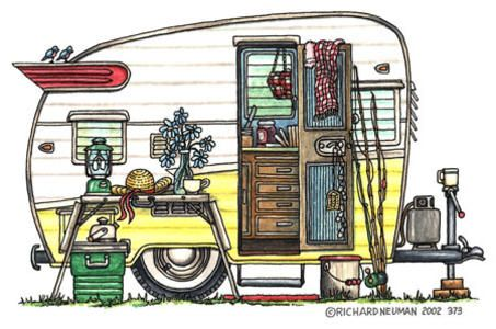 Free vintage clip art. Camper clipart animated