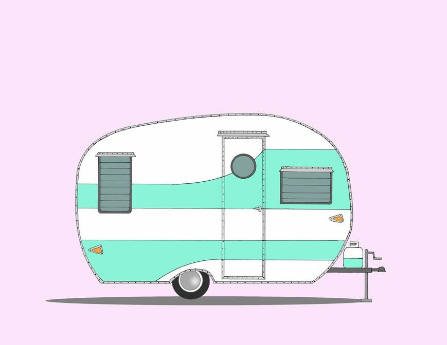 Retro cliparts free download. Camper clipart animated