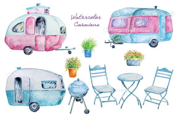 Camper clipart bbq. Watercolour blue caravan pink