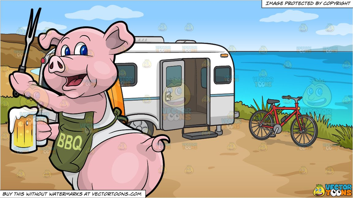 A pig cook holding. Camper clipart bbq