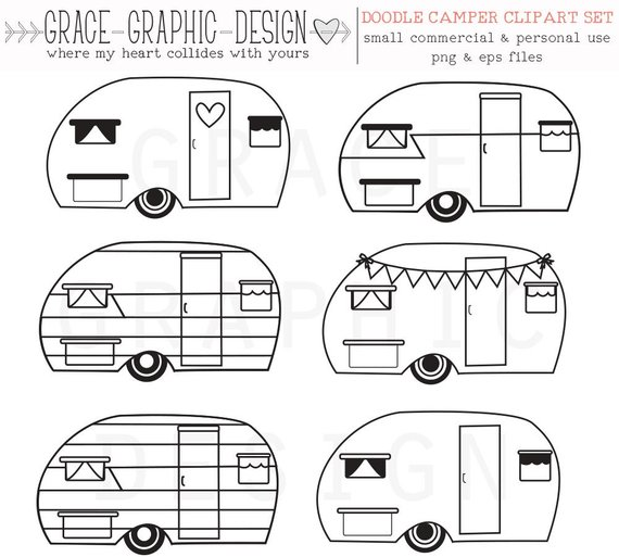 Camper clipart black and white. Retro vector
