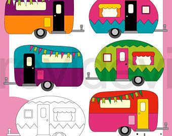 Camper clipart boho. Clip art etsy rv