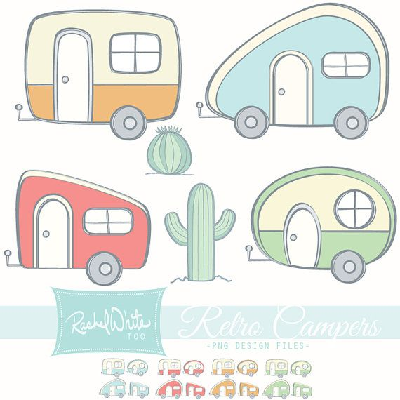 Retro campers vector illustrations. Camper clipart boho