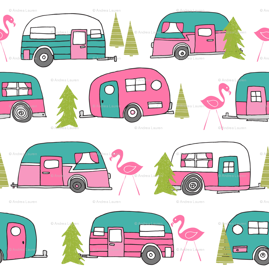 Camper clipart border. Vintage lime green and