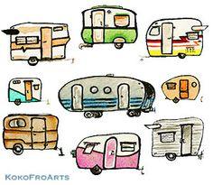 Camper clipart camper airstream. Travel trailers print by