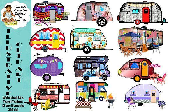 Whimsical rv travel trailer. Camper clipart camper airstream