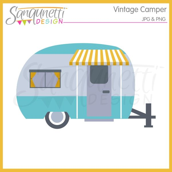 Vintage camping and digital. Camper clipart campervan