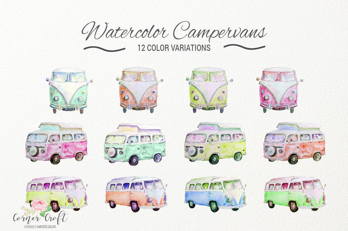 Camper clipart campervan. Watercolor vintage campervans leisure