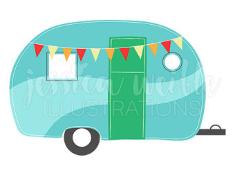 Camping illustration etsy caravan. Camper clipart campfire