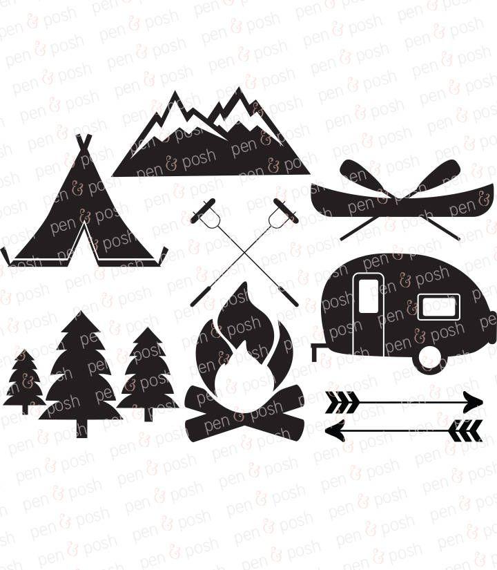 Camping svg clip art. Camper clipart campfire