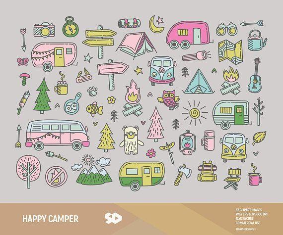 Camper clipart campfire. Happy camping clip art