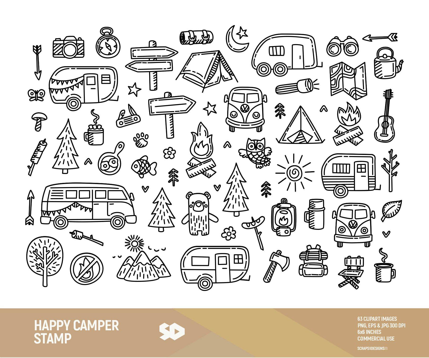 Happy camping clip art. Camper clipart campfire