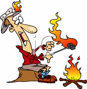 A colorful cartoon of. Camper clipart campfire
