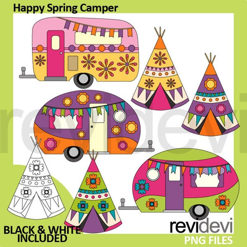 Happy spring rv caravan. Camper clipart camping