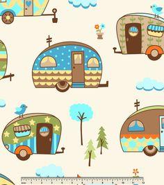 Retro diy digital art. Camper clipart camping