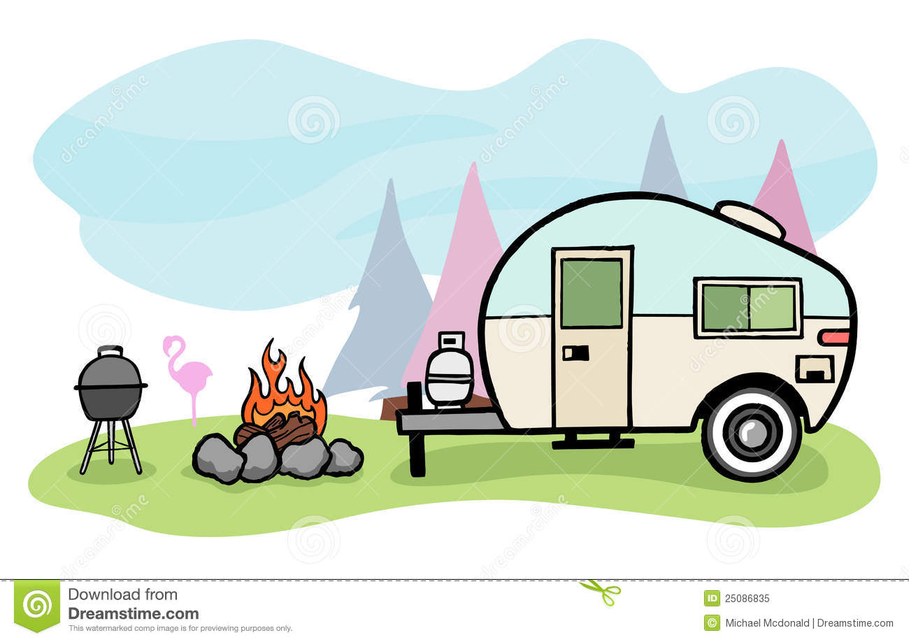 Camping clipart camper - Pencil and in color camping clipart camper