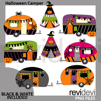 Camper clipart camping. Halloween caravan and teepee