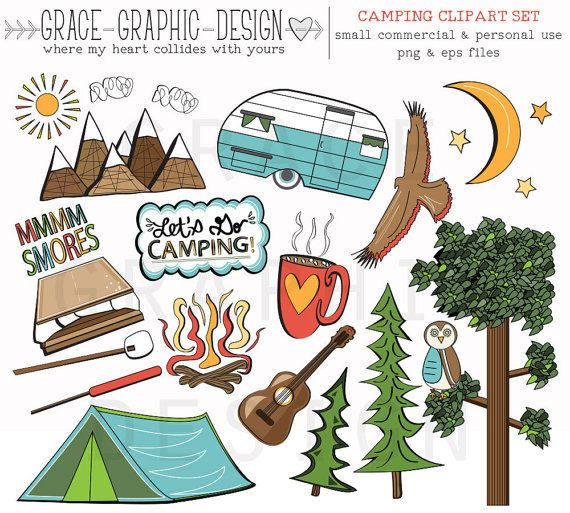 Nature digital illustrations instant. Camper clipart camping theme