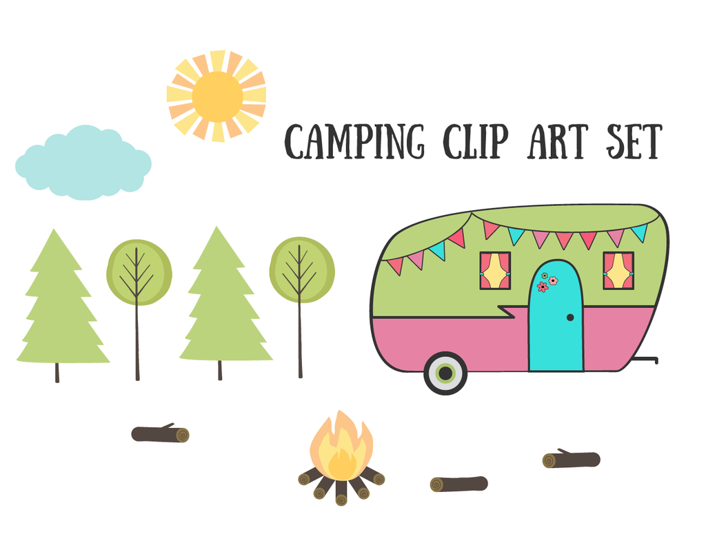 Free vintage retro clip. Camper clipart camping theme