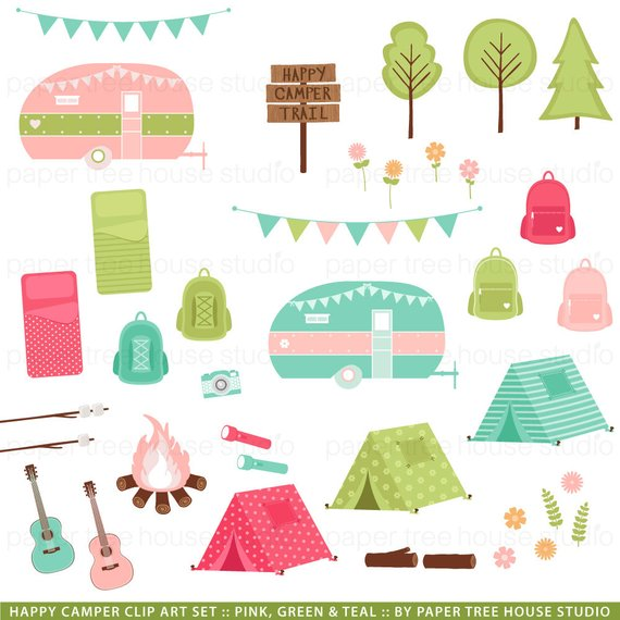 Camper clipart camping theme. Clip art glamping