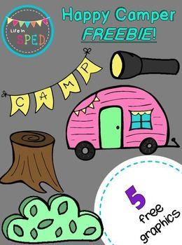 Happy freebie bulletin boards. Camper clipart camping theme