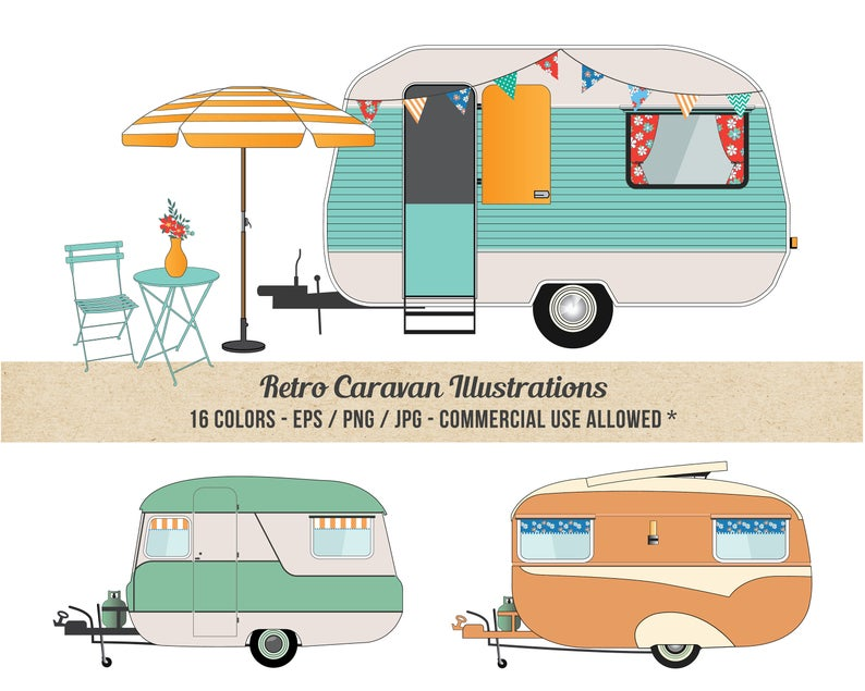 Camper clipart caravan. Commercial use detailed retro