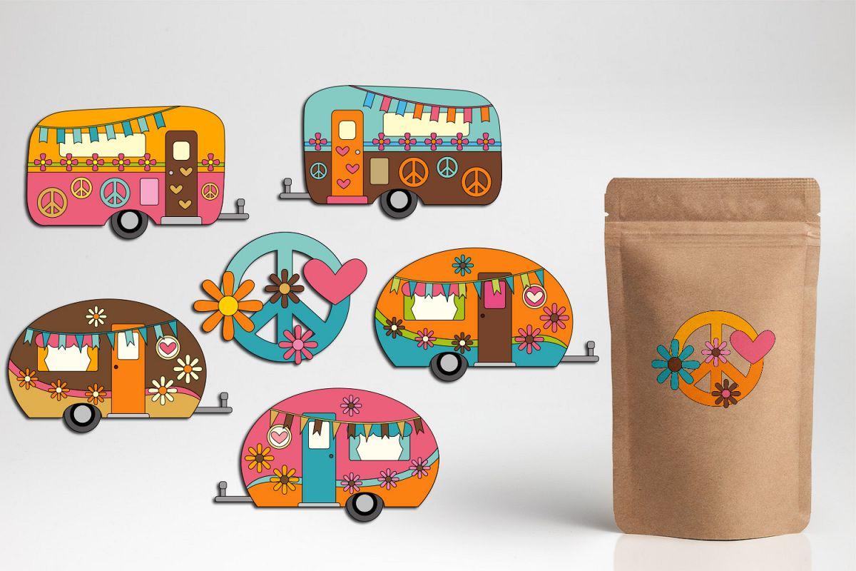Camper clipart caravan. Hippie graphics peace love