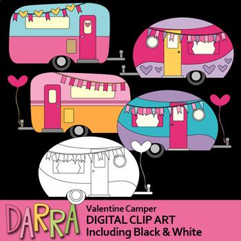 Valentine clip art rv. Camper clipart caravan