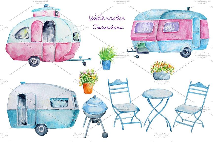 Watercolor illustrations creative market. Camper clipart caravan