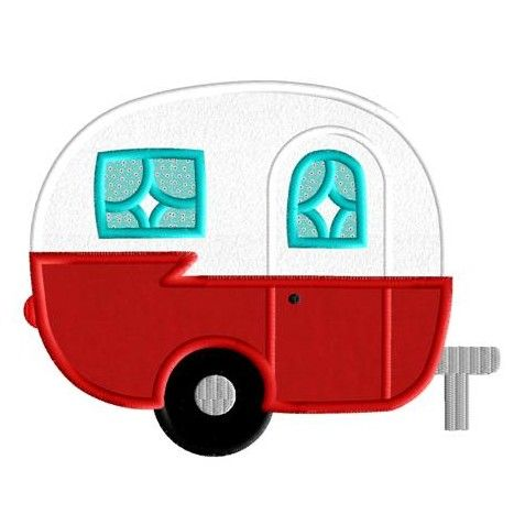Camper clipart cartoon. Retro applique design appliquedownload