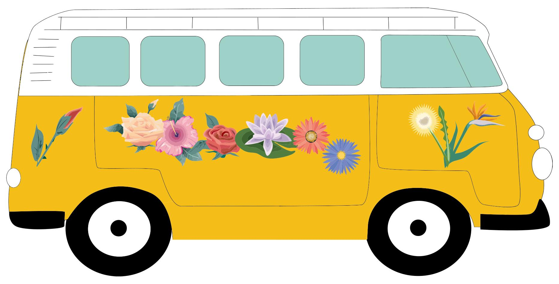 Floral volkswagen design droide. Camper clipart cartoon