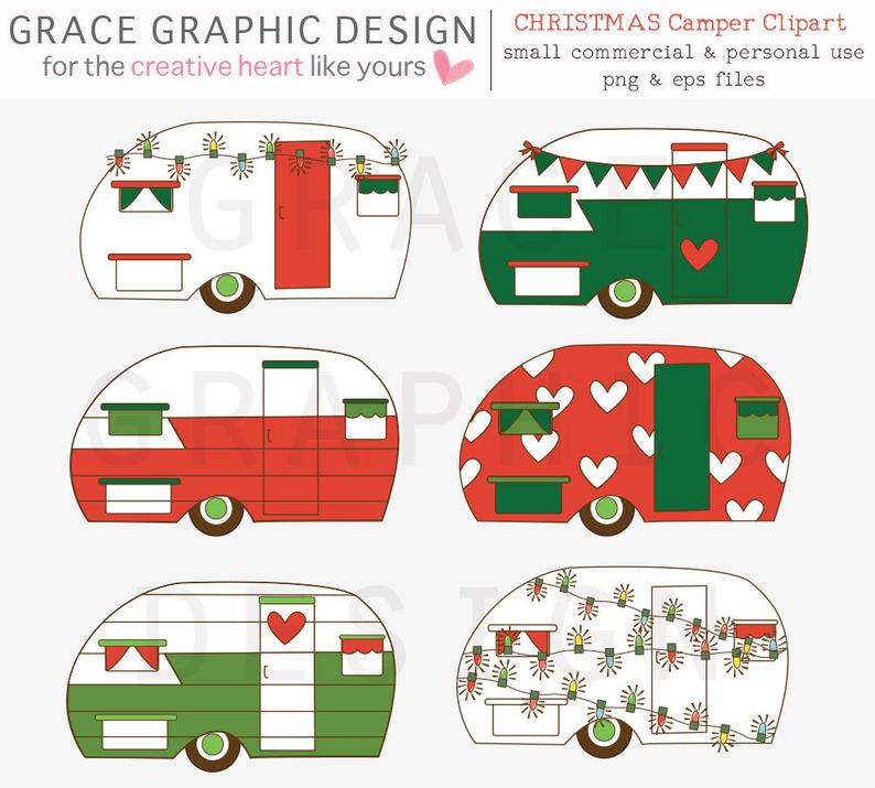 Set retro commercial use. Camper clipart christmas