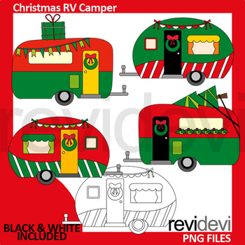 Camper clipart christmas. Red green rv clip