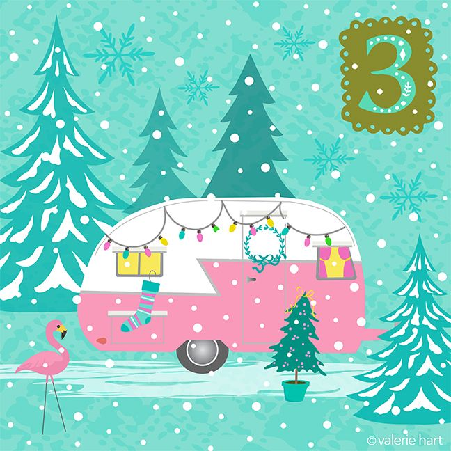 Glamping advent countdown dec. Camper clipart christmas