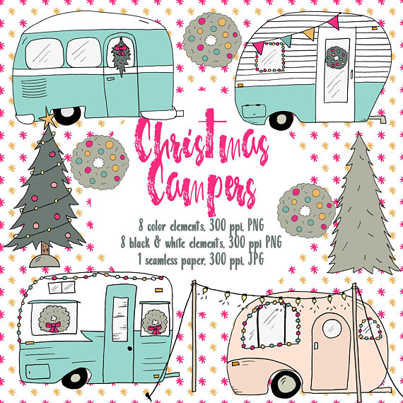 Camper clipart christmas. Campers retro holiday hand
