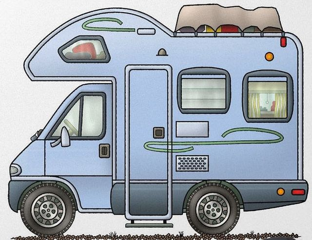 Whimsical motorhome art drawing. Camper clipart class c