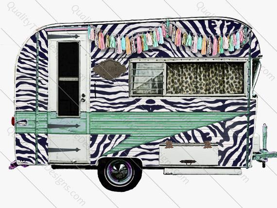 Camper clipart clip art. Blue zebra print leopard
