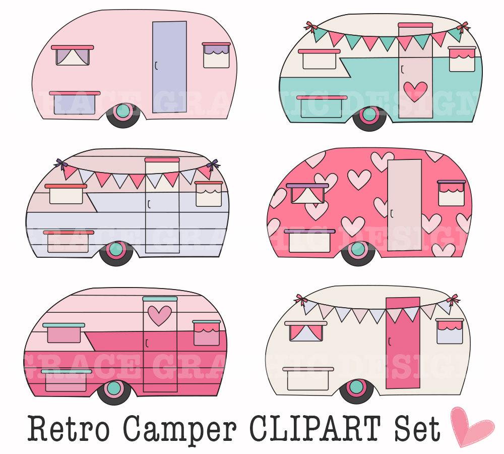 Retro camping diy digital. Camper clipart clip art