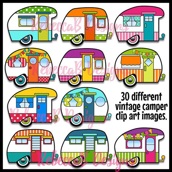 Camper clipart clip art. Vintage retro trailer this