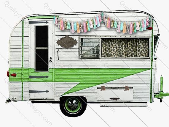 Green trailor vintage woodland. Camper clipart clip art